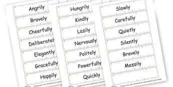 Adverbs Flash Cards - KS2 Verbs and Adverbs Primary Resources, Verbs, Adverbs, KS2 Words