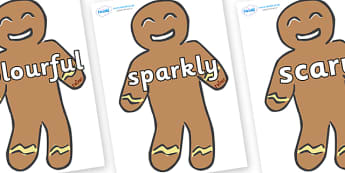 Wow Words on Gingerbread Men - Wow words, adjectives, VCOP, describing, Wow, display, poster, wow display, tasty, scary, ugly, beautiful, colourful sharp, bouncy