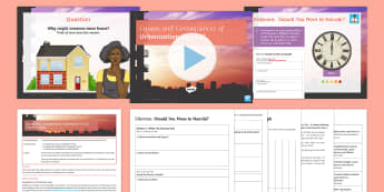 Urbanisation in a LIC Lesson Pack  - Secondary, Geography, Urbanisation in a LIC, causes, challenges, Kibera, decision-making activity, s