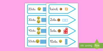 Etiquetas: El valor de las monedas - monedas, valor, cantidad, céntimos, euros, dinero, etiquetas, precios, precio,Spanish