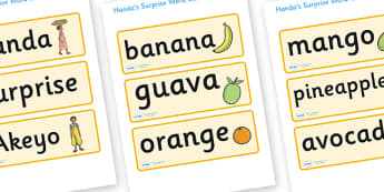Handa's Surprise Word Cards - Handa's Surprise, Eileen Browne, resources, Handa, Akeyo, mango, guava, Africa, avacado, passion fruit, monkey, African animals, story, story book, story book resources, story sequencing, story resources, Word cards, Wor