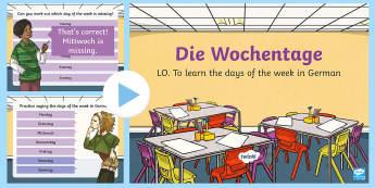 Days of the Week PowerPoint German - Days of the Week, German