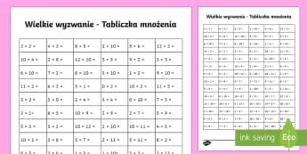 Wielkie wyzwanie Tabliczka mnożenia - matematyka, mnożenie, iloczyn, liczby, liczyć, oblicz, Polish
