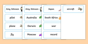 Amy Johnson Word Cards - amy, johnson, word cards, word, cards
