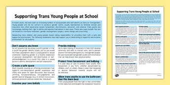 Supporting Trans Young People at School Information Sheet - supporting trans, young people, school, information