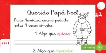 Carta a Papá Noel - carta a Papá Noel, papa noel, escritura, plantilla, pautas, Navidad, navidad, carta, Spanish