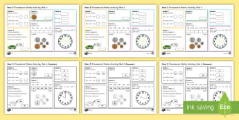 Procedural Year 2 Mat 4 Maths Activity Mats - Maths Acitvity Mats, matiau mathemateg, gweithgareddau mathemateg, Deunyddiau sampl rhifedd, Profion