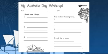 Australia Day Write Up Worksheet - worksheets, celebrations