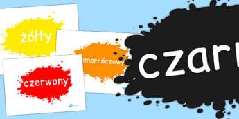 Karty ze slownictwem Kolory po polsku - po pobrania, edukacyjne , Polish