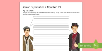 Chapter 53 Pip and Orlick Activity Sheet to Support Teaching on 'Great Expectations' by Charles Dickens - Herbert Pocket, Trabb's boy, Chapter 53, Biddy, Mrs Joe, marshes, sluice house, lime kiln.