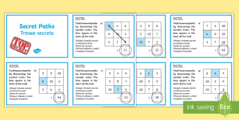Secret Addition Number Paths Challenge Cards English/Romanian - Secret Addition Number Paths Challenge Cards - adding, numeracy, challange, +, EAL