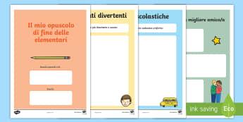 Fine delle elementari Opuscolo - fine, delle, elementari, opuscolo, memorie, scrivere, italiano, italian, materiale, scolastico