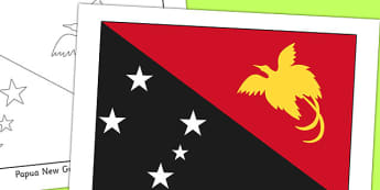 Papua New Guinea Flag Display Poster - countries, geography