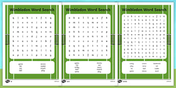 Wimbledon Themed Differentiated Word Search - word search, tennis