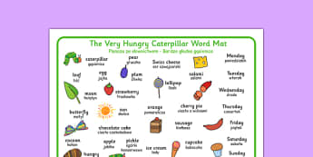 The Very Hungry Caterpillar Word Mat Polish Translation - polish, The Very Hungry Caterpillar,  Eric Carle, resources, Hungry Caterpillar, life cycle of a butterfly, days of the week, food, fruit, story, story book, story book resources, story sequen