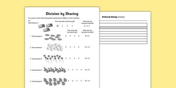 Division by Equal Sharing - division, sharing, divide, maths, home education