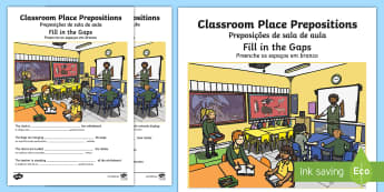 Classroom Place Prepositions Fill in the Gaps English/Portuguese - Classroom Place Prepositions Fill in the Gaps - place prepositions, classroom,postions,preposistions