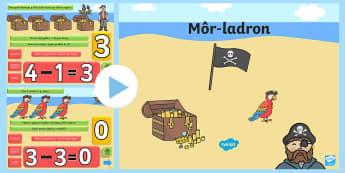 Pŵerbwynt Tynnu Thema Môr-ladron - pirate, pirates, Môr-ladron, Môr-leidr, arddangosfa, chwarae rol, welsh, cymraeg, cyfnod Sylfaen,