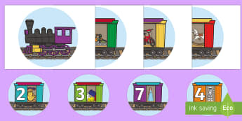 Toy Train Number Display - EYFS, Early Years, KS1, Toys, numbers to 10, Maths, Numeracy, number recognition, ordinal numbers, d