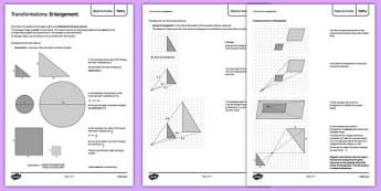 Maths Need To Knows Enlargement - maths, KS 3, ks3, measure, transformation, enlargement, scale factor, area, volume, shape, geometry, secondary