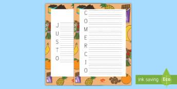 Acróstico: Comercio justo - Fairtrade, acróstico, comercio justo, escritura, poema, poesía, escribir, escribe, comercio, ,Span