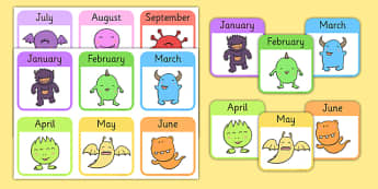 Monster Months of the Year Snap Game - monster, months, snap game