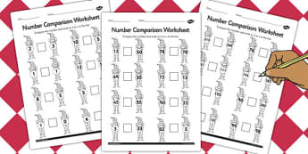 The Pied Piper Number Comparison Worksheets - number, sheet