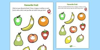 Favourite Fruits Worksheet - fruit, favourite fruits, my favourite fruits, my favourite fruits worksheet, favourite fruits faces worksheet, fruit worksheet