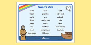 Noah's Ark Word Mat Images - Noah's Ark, word mat, mat, writing aid, images, noah, tools, ark, animals, rain, rainbow, flood, dove, land