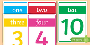 Numbers 1-10 Cards - numbers, number, 1, 10, cards, flash cards, poster, display, maths