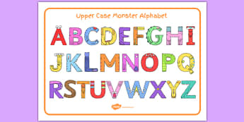 Upper Case Monster Alphabet Image Mat - uppercase, monster, alphabet, image mat