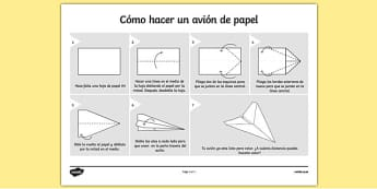 Cómo hacer un avión de papel - spanish, how to make a paper aeroplane, aeroplane, plane, paper plane, dipslay, poster, sign, how to make, activity instruction