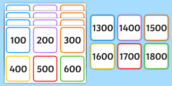 Multiples of 100 on Square Number Cards - multiplication, times tables, visual aid, display, help, maths, numeracy, hundred
