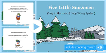 5 Little Snowmen Song PowerPoint - Winter, snow, season, cold, frost, music, song, singing
