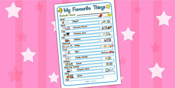 My Favourite Things Worksheet - ourselves, worksheet, template