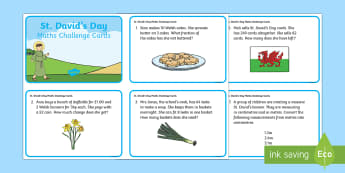 St David's Day Maths Challenge Cards - Dewi Sant (St David's Day 1.3.17),Welsh, maths, challenge, ks2, key stage 2, ca2, english medium.