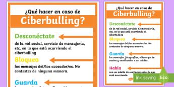 Póster: ¿Qué hacer en caso de ciberbulling?  - Bulling, acoso, acoso escolar, molestar, abuso, abusón, matón, problemas de convivencia, convivenc