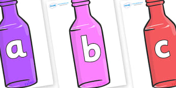 Phoneme Set on Bottles - Phoneme set, phonemes, phoneme, Letters and Sounds, DfES, display, Phase 1, Phase 2, Phase 3, Phase 5, Foundation, Literacy