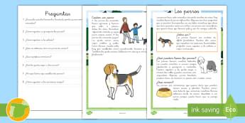 Comprensión lector: Los perros - canino, perros, leer, lectura, lee, comprensión, lector, lectora, ,Spanish