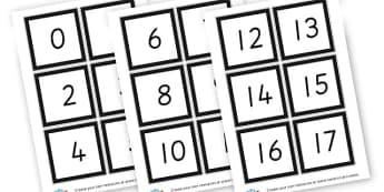 Number cards 1 -100