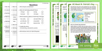 KS1 St. Patrick's Day Differentiated Reading Comprehension Activity - KS1 Comprehensions, Saint Patrick's Day, saints, Ireland, festivals, Christianity, KS1 reading, KS1