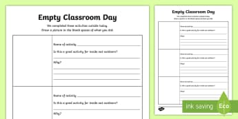 Empty Classroom Day Activity Record - CfE Empty Classroom Day (May 18th), outdoor classroom day, outdoor learning, evaluation.,Scottish