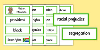 Nelson Mandela Word Cards - nelson mandela, word cards, cards