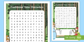 Traditional Tales Characters Word Search - cinderella, aladin, pinocchio, fairy tale characters, traditional tales
