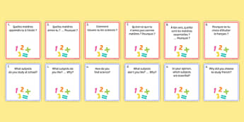 General Conversation Question Pair Cards My Studies - french, Conversation, Speaking, Questions, Studies, Education, School, Subjects, Éducation, École, Matière, Cards, Cartes