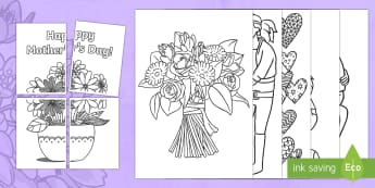 Extra Large Mother's Day Colouring Pages - Mother's Day, colouring, mindfulness, fine motor skills, display, mothers day, mohters day