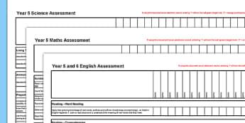 New Curriculum Year 5 Reading Writing Maths Science Assessment Spreadsheet - assessment