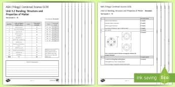 AQA (Trilogy) Bonding, Structure and Properties of Matter Assessment Test - KS4 Assessment, Test, bonding, structure, C2, unit 5.2, topic 5.2, properties, properties of matter,