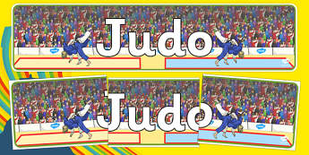 Rio 2016 Olympics Judo Display Banner - Judo, Olympics, Olympic Games, sports, Olympic, London, 2012, display, banner, poster, sign, activity, Olympic torch, events, flag, countries, medal, Olympic Rings, mascots, flame, compete