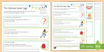 The Ultimate Easter Egg Activity Sheet - Easter, Egg, adjective, adverb, superlative, simile, metaphor, poem, worksheet
